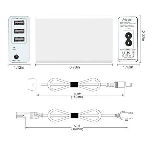 Tragbares 45W / 60W Ladegerät für Mac Book Air 11 13 Zoll & Pro Retina 13 Zoll, Ersatz für Magsafe 2 T-Tip-Netzteil Mac (2012,2013,2014,2015,2017) -3 Zusätzliche USB-Anschlüsse