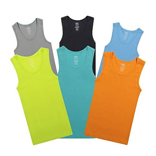Buyless Fashion Jungen Unterhemden Tank-Top Mehrfarbig Weiche Baumwolle 6er-Pack - TW16-BA-4-5