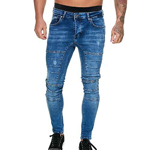U/A Mens Skinny Jeans Men Gym Sports Stretch Denim Pants Elastic Waist Big Plus Size