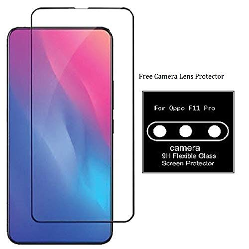 True Desire 6D Tempered Glass Full Glue Full Edge-Edge Screen Protection for Oppo F11 Pro-(Black)
