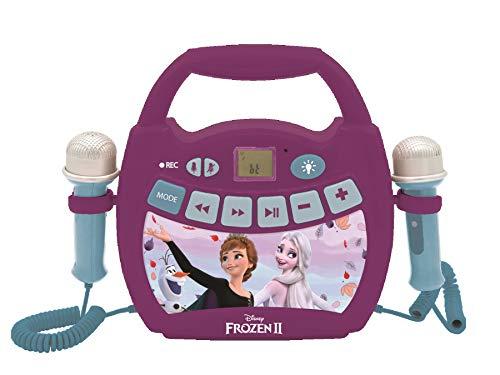 LEXIBOOK- Disney Frozen 2 - Reproductor de música de Karaoke portátil para niños - Micrófonos, Efectos de luz, Bluetooth, Grabación y Cambio de Voz, Baterías Recargables, Púrpura