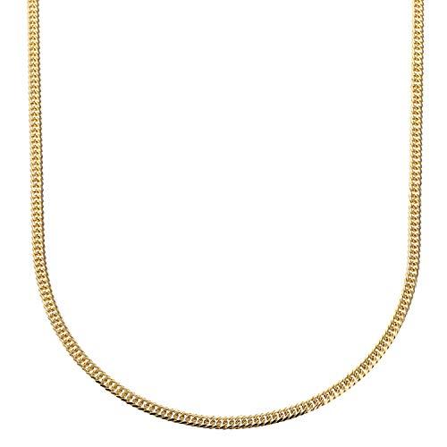 [フェアリーカレット] 18金ネックレス K18 6面W喜平チェーン 日本製 検定印 10g 50cm 中留め