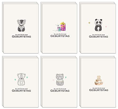 Geburtstagskarten Set - 48 Umweltfreundliche Karten und Umschläge aus recyceltem Papier, Kindergeburtstagskarten, Geburtstagskarten für Erwachsene …