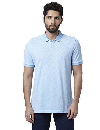 Park Avenue Solid Cotton Medium Blue Regular Fit Polo Neck Half Sleeve T-Shirt