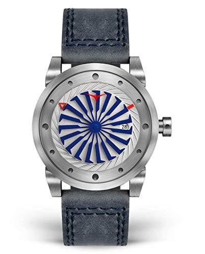 Zinvo Blade Marine Turbine Automatik Miyota Edelstahl 316L Grau Silber Blau Datum Leder Sapphire Herren Uhr