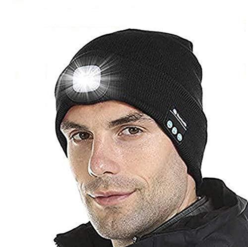 Aomier Strickmütze mit Licht für Herren und Damen Winter Schwarz, USB Nachladbare Beleuchtete Bluetooth Music Beanie Mütze für Skifahren, Wandern, Camping, Radfahren, Joggen, Laufen