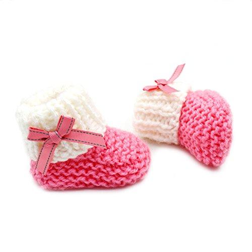 Botitas de bebé de hilo turco de ganchillo a mano - 4070 rosa/blanco, Multicolor, 6-12 meses