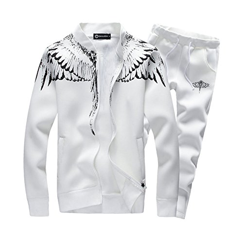 Asali Mens Tracksuit Feather Wings Fashion Warm Up Jog Suit with Clothes and Pants White XXL