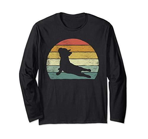 Vintage Retro French Bulldog Shirt Yoga Funny French Bulldog Long Sleeve T-Shirt