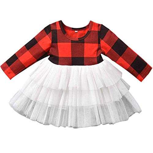 Toddler Baby Girl Christmas Outfit Dress Infant Girls Buffalo Plaid Tutu Tulle Dresses Xmas Clothing Outfits
