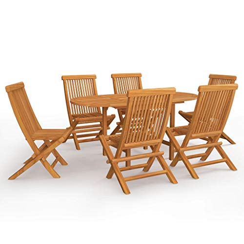 BIGTO Outdoor Dining Set A of 7 Pcs Solid Acacia Wood Garden Table Chair Set Patio Furntain