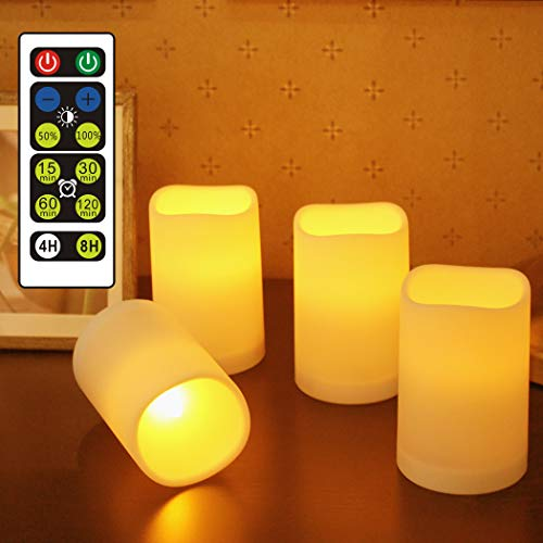 WRalwaysLX Flameless Candles, Remote Control Candles Decorative Outdoor and Indoor, Set of 4(2.5'D X3.8'H )Plastic Flickering Flame with Timer by 3AAA Batteries (not Included)