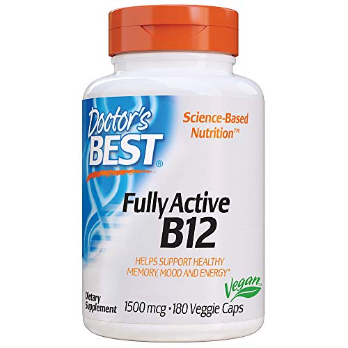 Doctor's Best Fully Active B12 1500 Mcg, Supports Energy, Mood, Circulation, Non-GMO, Vegan, Gluten Free, 180 VC