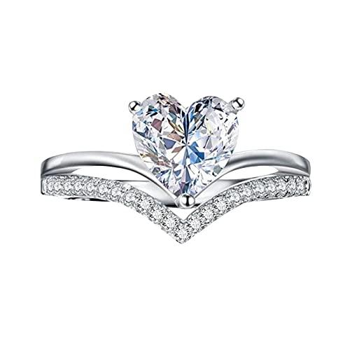 Anillos de boda señor de los anillos anillos de plata de las mujeres en forma de corazón Zircon diamante personalizado princesa anillo de compromiso doble anillo, 10,