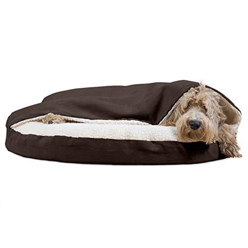 Furhaven Pet Dog Bed - Orthopedic Round Cuddle Nest Faux Sheepskin Snuggery Blanket Burrow Pet Bed with Removable Cover for Dogs and Cats, Espresso, 35-Inch
