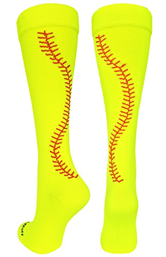 MadSportsStuff Softball Socks with Stitches Over The Calf (Neon Yellow/Red, Small)