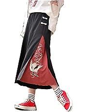 鶴柄 刺繍 ワイドパンツ フリーサイズ 袴パンツ 和柄 和装 ツル 和服 ガウチョパンツ ゆったり ロングパンツ カジュアル スカンツ 衣装 プレゼント 贈り物