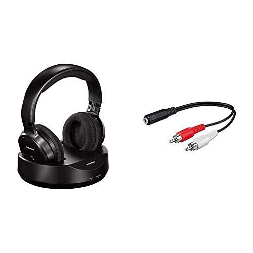 Thomson kabelloser Funk-Kopfhörer mit Ladestation (Over-Ear-Kopfhörer für Fernseher/TV) Schwarz & Goobay Audio/Video Kabel (3,5mm Stereo Kupplung auf 2X Cinchstecker) 0,2 m