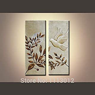 DIU Hand Painted Modern Abstract On Canvas Oil Paintings Home Decoration 2 Panel Sun Tree Bird Set Wall Art Picture For Li...