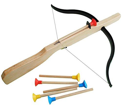 alles-meine.de GmbH 7 TLG Set : Holzarmbrust + 6 Pfeile - aus stabilen Holz / z.B. für Vogelschießen - Kinderarmbrust Spiel - Bogenschießen / Indianer Spiele - Armbrust Pfeilen -..