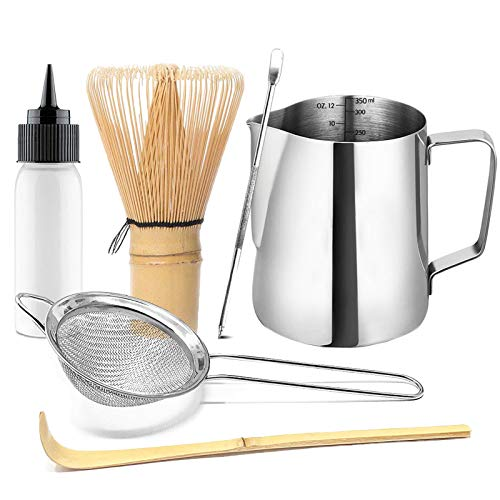Artcome Japanese Matcha Tea Latte Tool Set, Matcha Whisk, Milk Frothering Pitcher, Steel Stainless Strainer, Handmade Matcha Ceremony Kit for Traditional Japanese Tea Ceremony (6pcs)