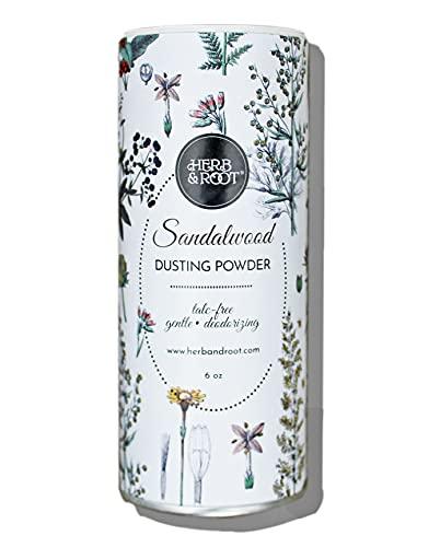 Sandalwood Scented Body Dusting Powder for Men or Women, Talc Free, Prevent Chafing, Bath Powder, Dusting Powder | Herb & Root