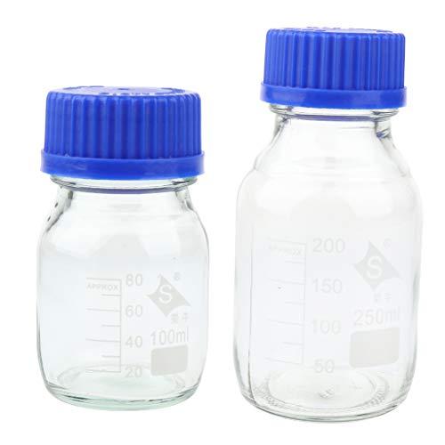 Gazechimp 2 Stü Premium Reagenz Probenflasche Glas 250 Ml 100 Ml Graduated Clear