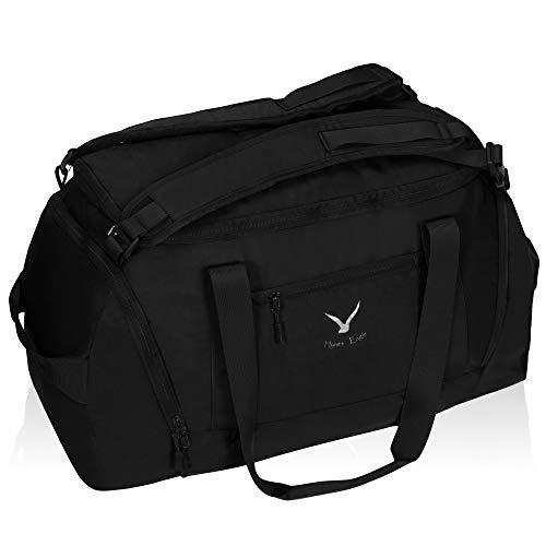 Hynes Eagle 50L Duffel Rucksack 3-Weg Reisetasche Gepäck Gym Sporttasche mit Schuhfach für Damen und Herren Schwarz