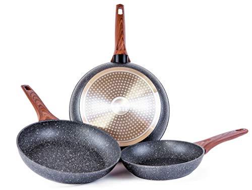Set de 3 sartenes de aluminio con revestimiento cerámico color mármol y mango suave de baquelita efecto madera, Medidas 20-24-28 cm. SET LAURA by Cloen,Sartenes Cloen. ,