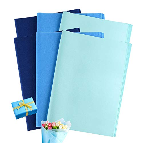 120 Hojas Papel de Seda Azul, XCOZU Papel para Envolver Regalos, Papel de Regalo Infantil para Cumpleaños Bodas Navidad Baby...