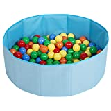 Selonis Piscine À Balles Multicolores Piscine Pliable 300 Balles Pour Les Enfant, Bleu: Jaune/Vert/Bleu/Rouge/Orange
