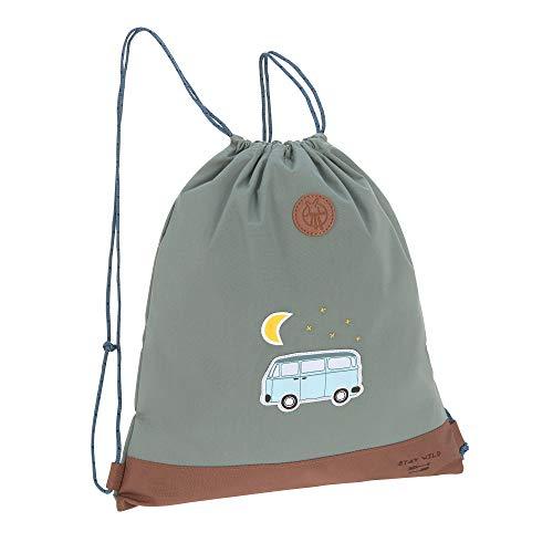 LÄSSIG Kinder Turnbeutel mit Kordelzug Rucksackfunktion Sportbeutel Schule Kindergarten/Mini String Bag, Adventure Bus