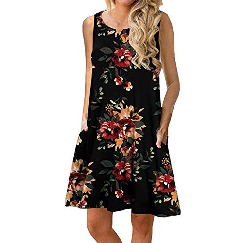 Gugio Women's Summer Casual Sleeveless Floral Printed Swing Dress Sundress with Pockets