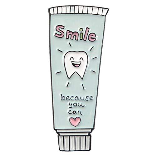 JTXZD broche Nieuwe Eenvoudige Persoonlijkheid artikelen Badge Tandpasta Tandenborstel Cup Eenvoudig leven Wit Shirt Korte mouw Accessoires Broche