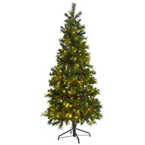 SPARKLES 6ft (180cm) Slim Green Needle Pine Artificial Pre-Lit Decorated Christmas Tree, Polyester, Neutral, one Size