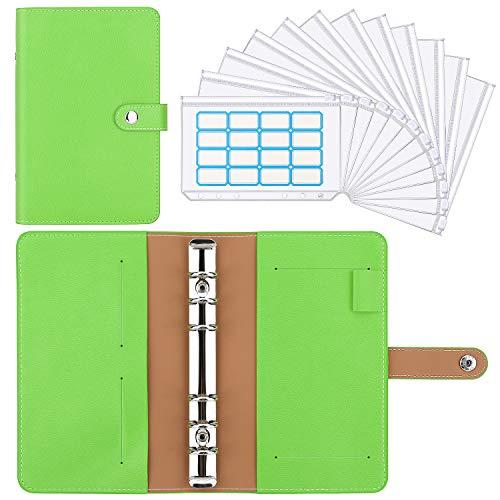 Housolution Carpeta de Cuaderno de 6 Anillas, Cubierta de Hojas Sueltas de Cuero de PU con 12 Sobres de Plástico Transparente con Cremallera A6, Bolsillos y Etiqueta Autoadhesiva - Verde