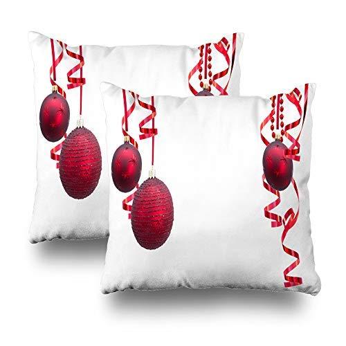 GFGKKGJFD Juego de 2 fundas de cojín de Navidad con marco festivo de Navidad, color rojo, 18 x 18 cm, para sofá, adolescentes, niñas, regalos