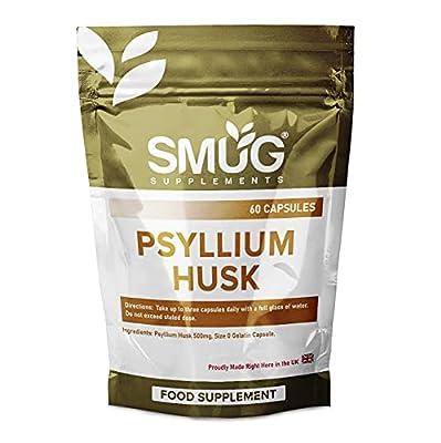 Psyllium Husk Fiber Capsules by SMUG Supplements   Pure & Natural Fibre Pills   500mg   UK Manufacturer (60 Capsules)