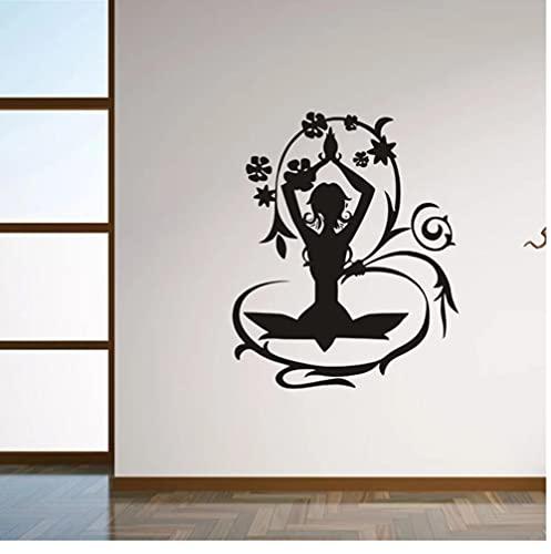 Papel pintado de Yoga de hadas de flores pegatinas de pared para sala de estar decoración del hogar calcomanías de vinilo dormitorio niñas póster murales 42X51cm