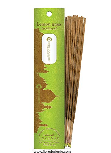 Lemon Grass Traditional And Natural Incense 10 Sticks, Honey And Hand Rolled, Fiore D'Oriente