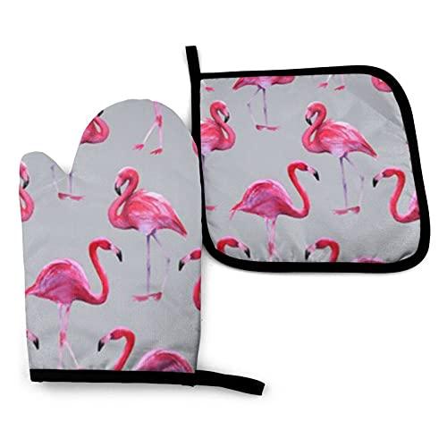 BONRI Fondo Rosa Flamingos Patrón Manoplas de horno y soportes para ollas Conjuntos de guantes de horno y agarraderas con poliéster reciclable antideslizante guantes de cocina para cocinar y asar