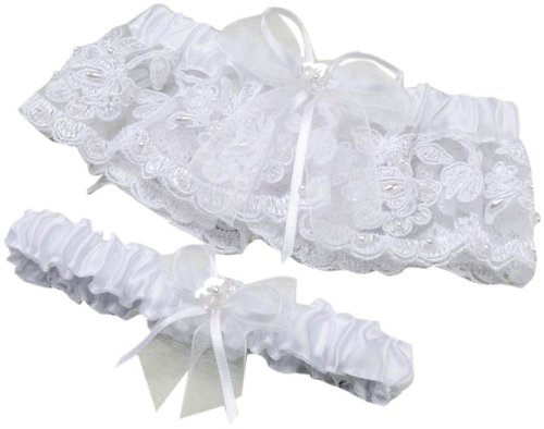 Darice VL5862, Lace Pearl Adjust Garter with Toss Away Set, White
