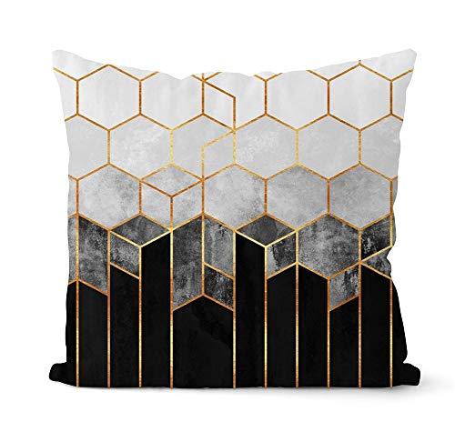 PPMP Funda de Almohada geométrica Gris y Negra, Almohada Decorativa para el sofá del hogar, decoración, Funda de Almohada, Funda de cojín A6, 45x45cm, 1pc
