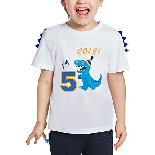5 Años Camiseta de Manga Corta Dinosaur Cumpleaños - Niños Top Shirt Dinosaurio Cumpleaños Fiesta 100% algodón T-Rex Bordado Gráfico T Shirt