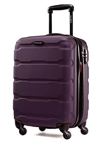 Samsonite Omni PC Hardside Expandable Luggage with Spinner Wheels, Purple, Checked-Large 28-Inch