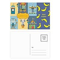 驚くほどおかしい公園施設のイラスト バナナのポストカードセットサンクスカード郵送側20個