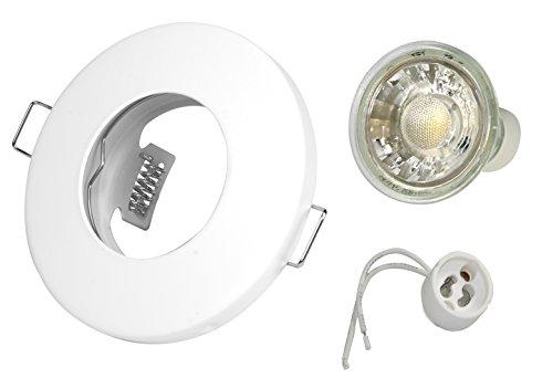 3W Set Einbaustrahler IP65 Optik: Weiss-Matt - Bad, Dusche, Vordach inkl. GU10 3Watt Glas LED Leuchtmittel 2700Kelvin (warmweiß) 270Lumen (Leuchtmittel austauschbar) Einbauleuchten