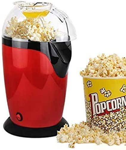 Hot Air 1200W Popcorn Machine Small Electric Oil Free Popcorn Maker with 60g Measuring Cup and Top Lid for Home