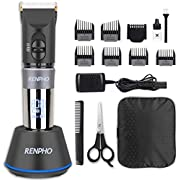 RENPHO Hair Clippers for Men Cordless Trimmer Professional Grooming Cutting Kit, LED Display Ceramic Blade Electric Haircut Kit with Charging Base & 6 Guide Combs for Barbershop and Family