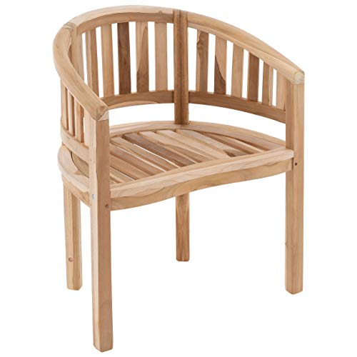 Nexos DIVERO Bananenstuhl Gartensessel geschwungen Teak Holz unbehandelt bequemer Sitzkomfort massiv modern stilvoll besonderes Design handgemacht